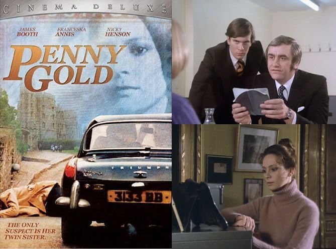Penny Gold (1974) James Booth is the Detective trying to get to the bottom of a brutal murder involving a twin connected to an extremely rare and valuable stamp