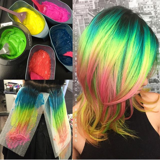 Neon mermaid hair color by Rebecca Taylor. Colors used, processing pics and finished look. hotonbeauty.com