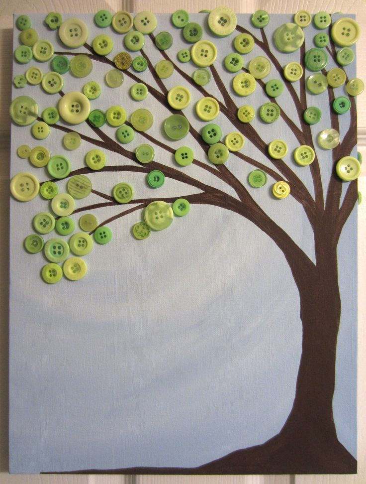 "Sky Blue and Leaves Green- Button Tree Painting- Original Acrylic with Buttons on Canvas- 12""x16"". $50.00, via Etsy."