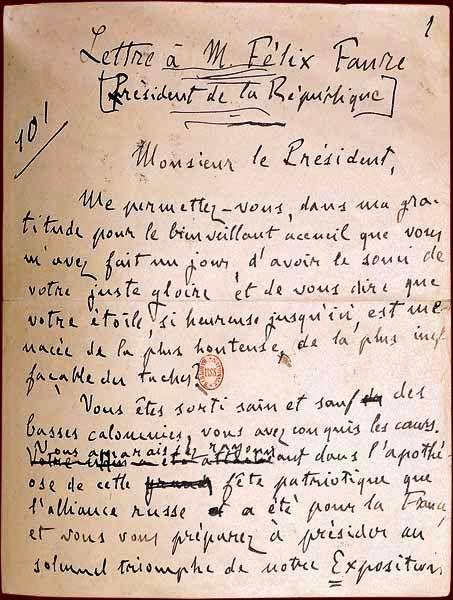 Lettre d'Emile Zola à Félix Faure : «J'accuse !»