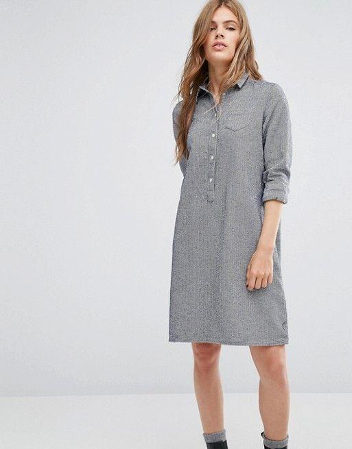 YMC | Платье-рубашка из ткани шамбре YMC