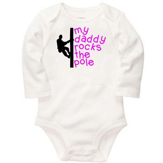 my daddy rocks the pole lineman long sleeve by TheVinylWordShop