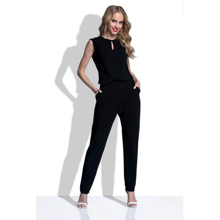 Salopeta neagra eleganta fara maneci cu decupaje #Salopetededamaelegante #jumpsuit #playsuits