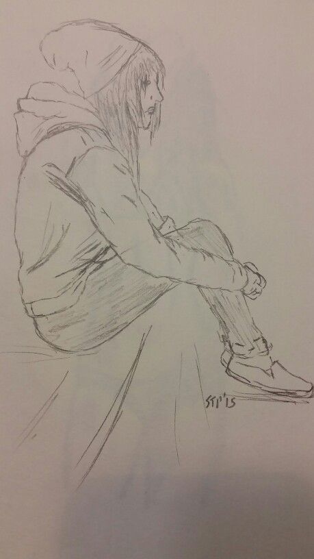 """Girl sitting on the curb"" #10minutesketch #stpartwork #2d #10minutechallenge #art #emogirl"