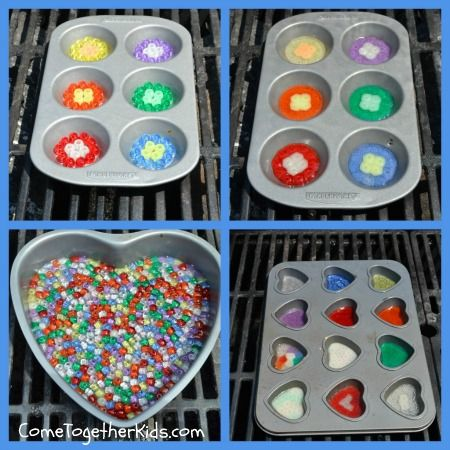 Come Together Kids: Melted Bead Suncatchers Make them outside on the BBQ so you don't fill your kitchen with melting plastic smell.