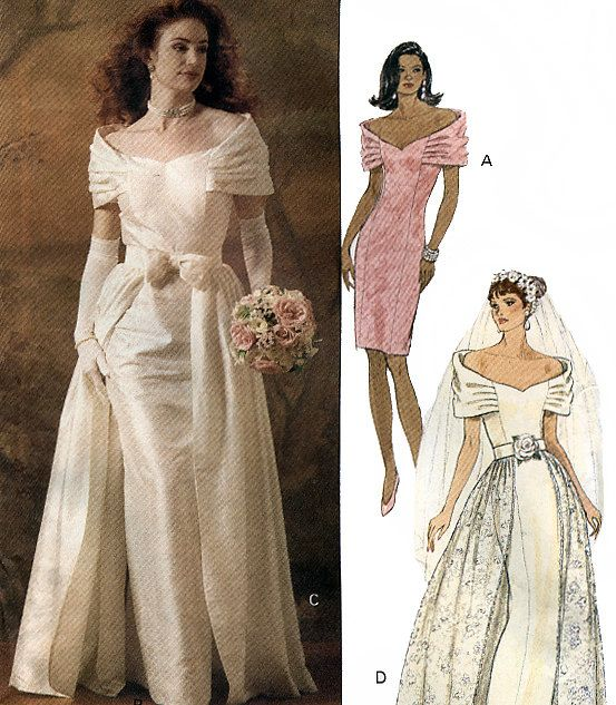 Butterick 5897 misses 39 bridal gown with detachable Butterick wedding dress patterns
