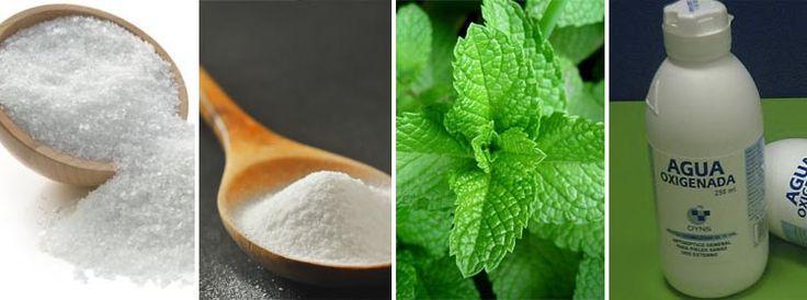 sal, Hojas de menta, hiera buena y salvia, bicarbonato de sodio y agua oxigenada.