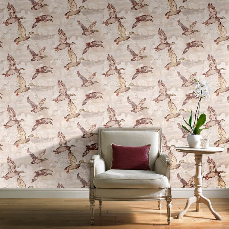 Grandeco Flying Ducks Wallpaper - Neutral - http://godecorating.co.uk/grandeco-flying-ducks-wallpaper-neutral/