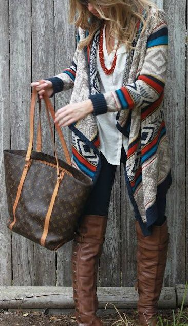 """Like the idea of a """"Aztec"""" print cardigan for fall and winter."""