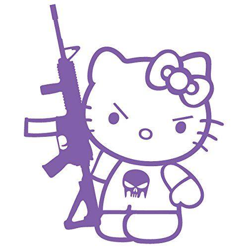 Hello Kitty Machine Gun M-16 / Vinyl Decal Sticker (HK-18) (5'' x 4.2'', Lavender). For product info go to:  https://www.caraccessoriesonlinemarket.com/hello-kitty-machine-gun-m-16-vinyl-decal-sticker-hk-18-5-x-4-2-lavender/
