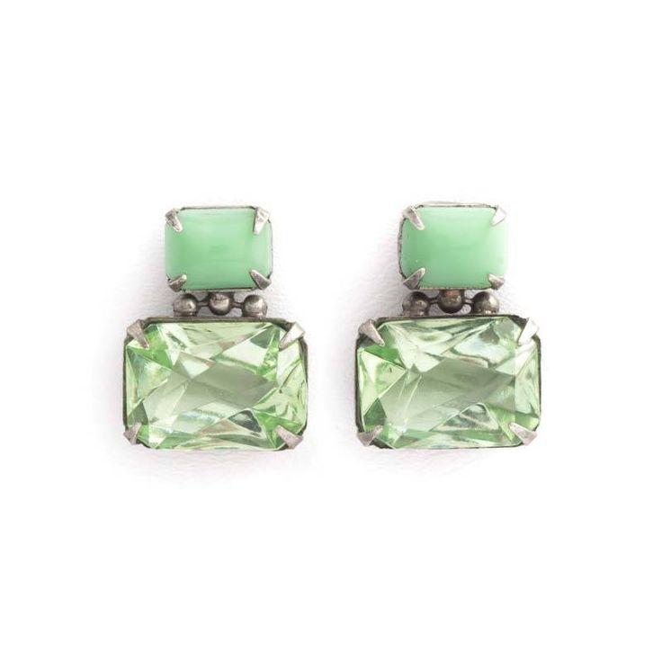 De Luxe Groene oorbellen met twee rechthoekige stenen