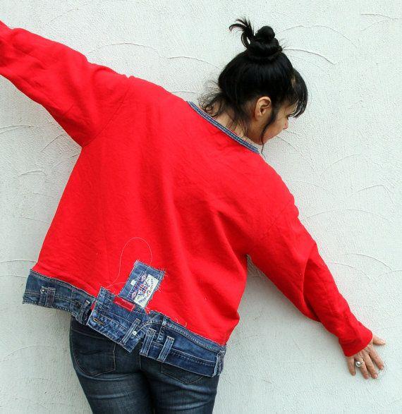 Jeans en denim fou L-XXL recyclé appliqued chemisier par jamfashion