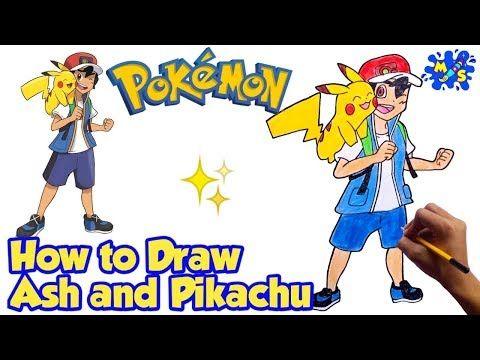 How to Draw Ash and Pikachu Alola league | Pokemon | Step ...