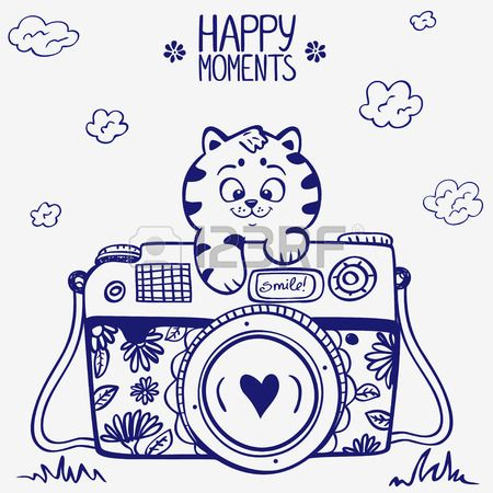 illustration sketch vintage retro photo camera with cute kitten