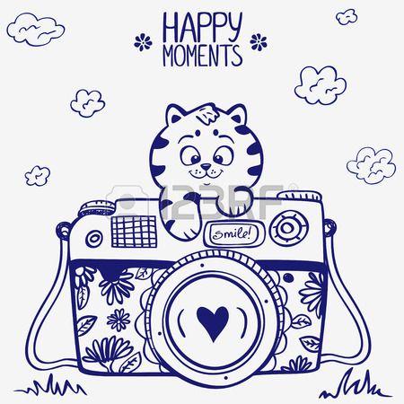 illustrazione schizzo macchina fotografica d'epoca retr� foto con cute gattino photo