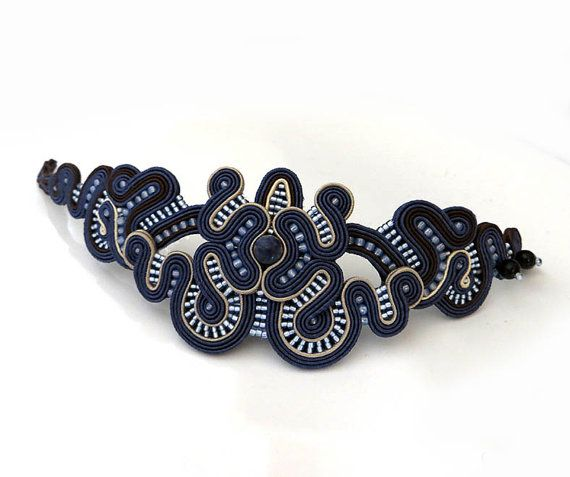 Unique Navy blue Soutache Cuff Bracelet beige by sutaszula on Etsy