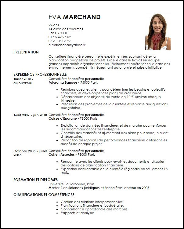 exemple de cv conseiller financier personnel