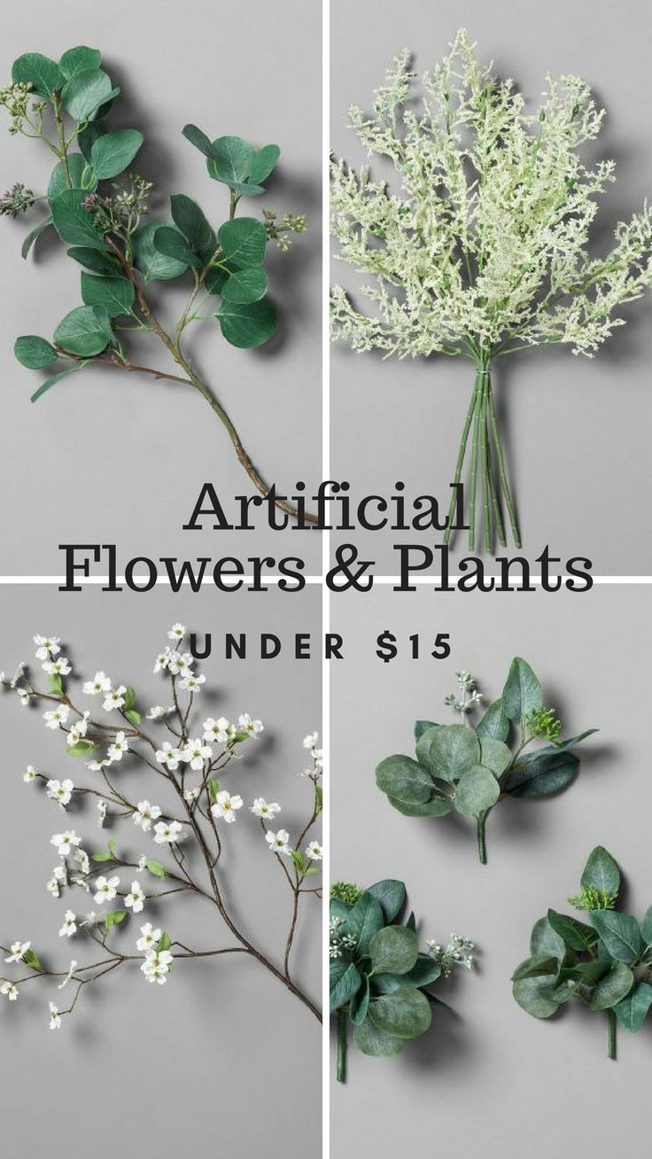 Beautiful and realistic artificial flowers and plants under $15.  Love that the quality and resemblance to real plants is so great on these.  #farmhousedecor #fixerupper #joannagaines #affiliate