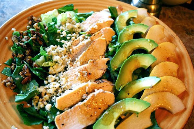 Avocado, pear, chicken, blue cheese and candied pecans make the perfect salad!