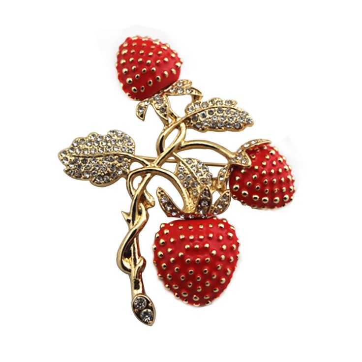 Europese mode nieuwe aardbei Rijn steen drop glazuur emaille delicate Broche in 2016 new frree shipping Europe and the United States foreign trade act the role ofing is tasted Fresh herb pearl earring van   op AliExpress.com | Alibaba Groep
