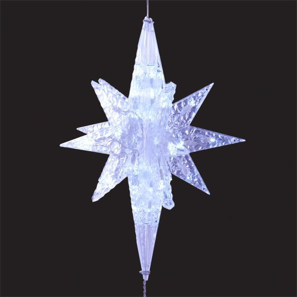 Features:  -3 D Clear frame hanging star.  -Twinkling effects, 50 cool white LED's.  -UL approved indoor, outdoor.  -Product Type: Luminary.  -Number Bulbs Included: 50.  -Power Source: Electric.  Col