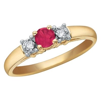 9ct Gold Diamond Ruby 3 Stone Ring 51T28-7-10 from The Jewel Hut Collection at £190.00