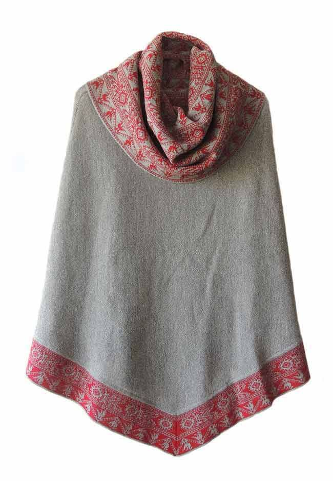 PFL Premium cape Fiona in 100% baby alpaca. with ethnic pattern and cowl neck collar