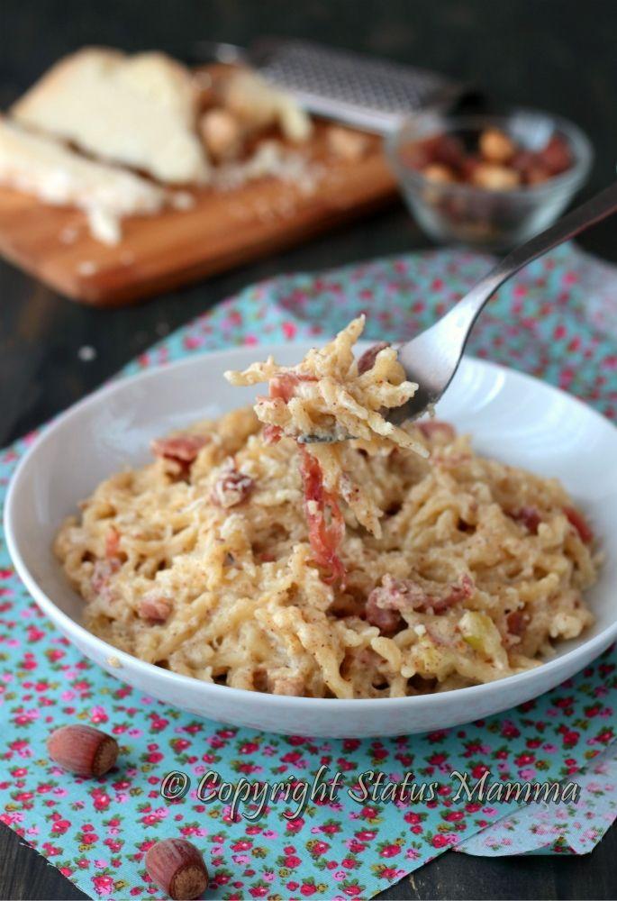 pasta con pesto di nocciole e speck al castelmagno primo piatto semplice…