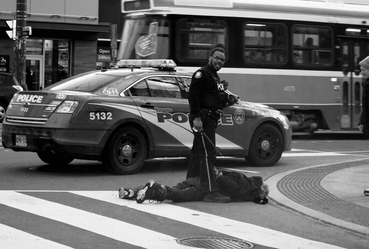 I saw this police officer take this guy down on the corner of College st. and Spadina. It was tough to watch. The police officer was doing his job, from what I could tell.
