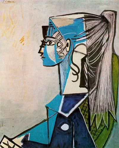 Portrait of Sylvette David in green chair -  Artist: Pablo Picasso  Completion Date: 1954  Style: Cubism  Period: Later Years  Genre: portrait  Tags: female-portraits