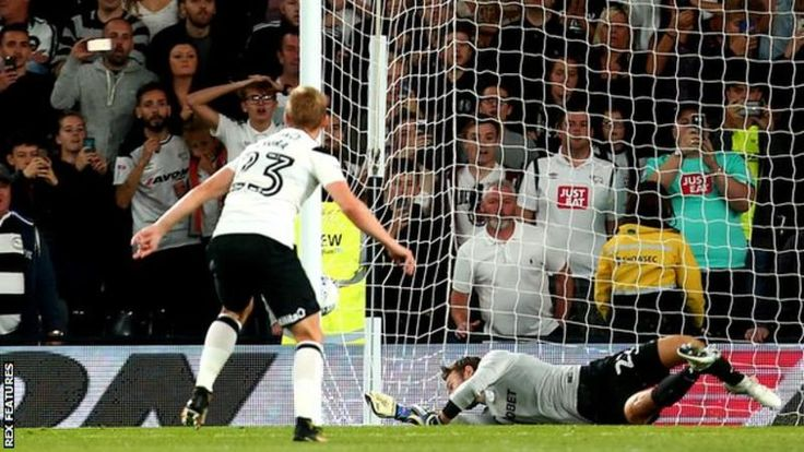 "Aug"" 15th. 2017: Matej Vydra scores a penalty for Derby against Preston North End"