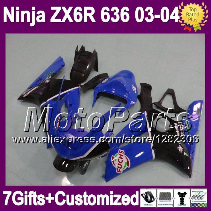 Синий черный 7 подарки + зализа для KAWASAKI ниндзя ZX6R 03 04 * 8291 ZX636 ZX-6R ZX 6 R 03 - 04 ZX 6R 636 2003 2004 новый синий черный