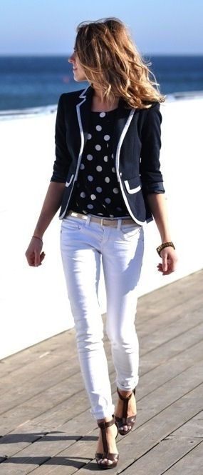 Love this polka dot blouse with the contrast trim jacket.  Great nautical look.
