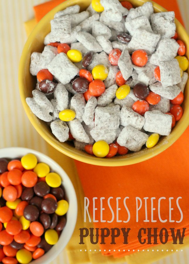 Reeses Pieces Puppy Chow recipe  - OH MY SWEETNESS!!!!!  That just takes Puppy Chow to a whole new level.  As if it couldn't get any better! WOAH!