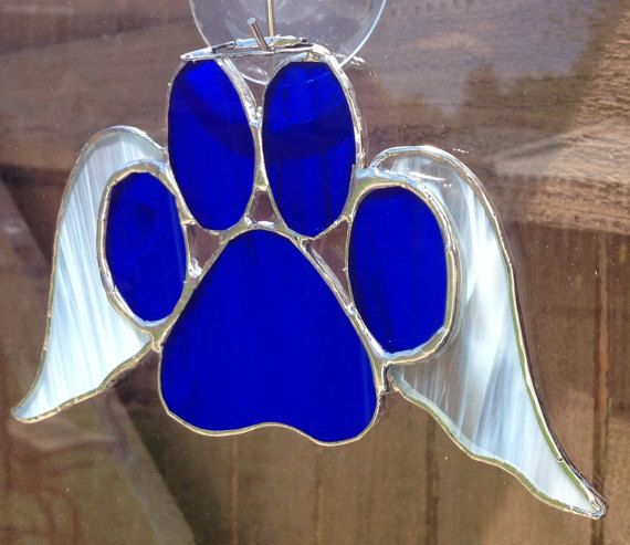 Dark Blue Stained Glass Paw Print With Angel by langanfamilyfinds