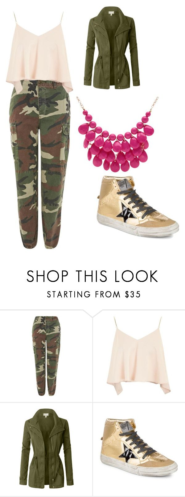 """""""army pants"""" by explorer-14926259901 on Polyvore featuring Topshop, LE3NO, Golden Goose and Alexa Starr"""