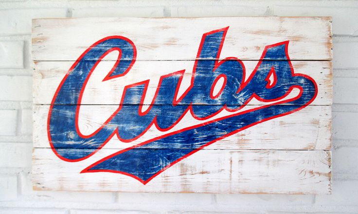 Chicago Cubs Baseball Sign by VintageSignDesigns on Etsy https://www.etsy.com/listing/237287877/chicago-cubs-baseball-sign