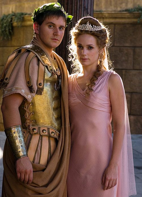 Allen Leech and Kerry Condon as Marcus Agrippa and Octavia in HBO's Rome. He's better known as Tom Branson from Downton Abbey and she was the crazy lady who kept a  zombie head in a bag on The Walking Dead.