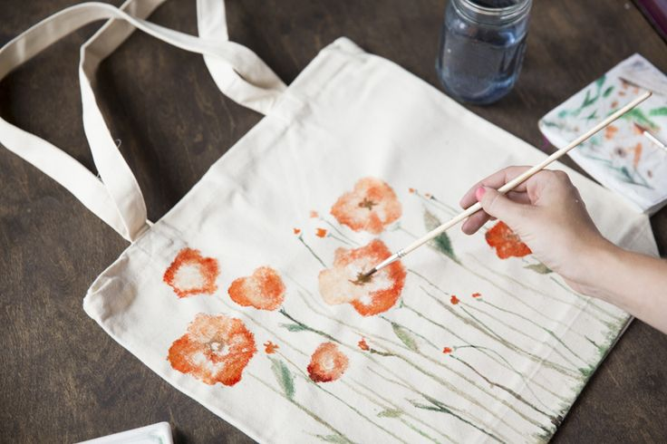 DIY: watercolor poppies tote