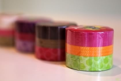 """A sweet looking set of 3 Japanese Washi Tape. Looks so yummy!!The one for this listing is the """"Franc Boise"""" - Bright Colorful three overlapping round cake layer, three types of masking tape.Top Layer is Stripe in pink - 15mm Middle Layer is Marble in orange - 10mm Bottom Layer is Dot in green - 15mm $8.25France Boise, Japanese Washi, Masks Tape, Pretty Tape, Washi Tape, Colors Tape, Crafts, Offices Supplies, Masking Tape"""