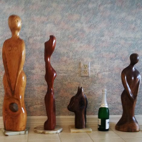 Beautiful Wood Carvings Finished With Waterlox Original Sealer/Finish.  (Champagne Bottle Is For The Scale Of The Carvings).