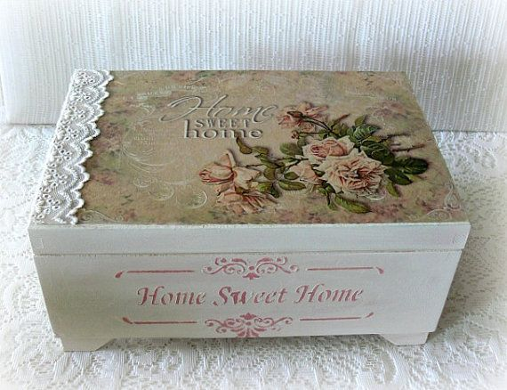 Wooden jewellery box,jewelry box,vintage style box,decoupage , vintage roses , Home sweet home