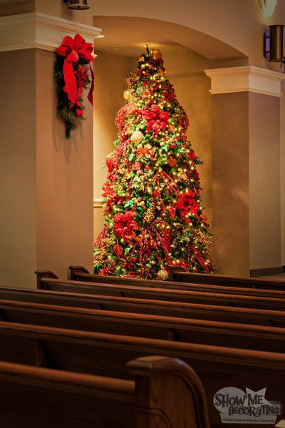 First Baptist Church sanctuary tree, and Faux teardrop dressed to coordinate.