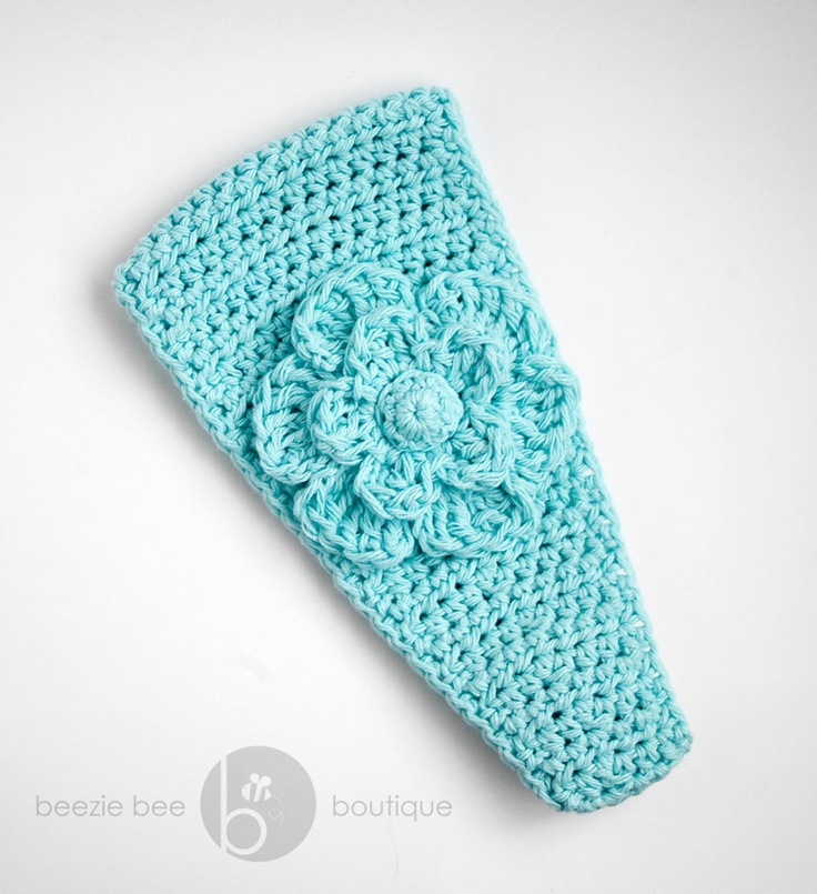 Free Crochet Ear Warmer Patterns For Adults : ADULT - Crochet Ear Warmer in Light Teal Light teal ...