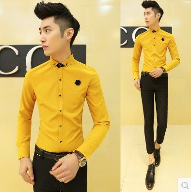 Find More Casual Shirts Information about 2015 Fashion Men's Slim Shirts Contrast Collar 5 Colors Free Shipping CS75,High Quality Casual Shirts from HOTI STYLE on Aliexpress.com