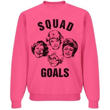 Golden Girls Squad Goals | Cheerleader! Show how much you love the Golden Girls with this funny and cute crewneck sweatshirt. This is the funniest group of girls around and they've officially become your 'Squad Goals'! Wear this sweatshirt with their faces on it to cheer practice or when your with your 3 closest friends.
