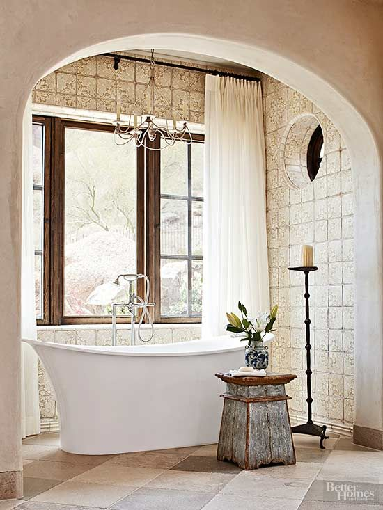 Mediterranean baths combine earthen surfaces, rustic finishes, antique furnishings, and sunset hues to create serenely welcoming retreats. These fabulous bathrooms are sure to inspire you to weave warming Mediterranean influences into your bathroom designs.
