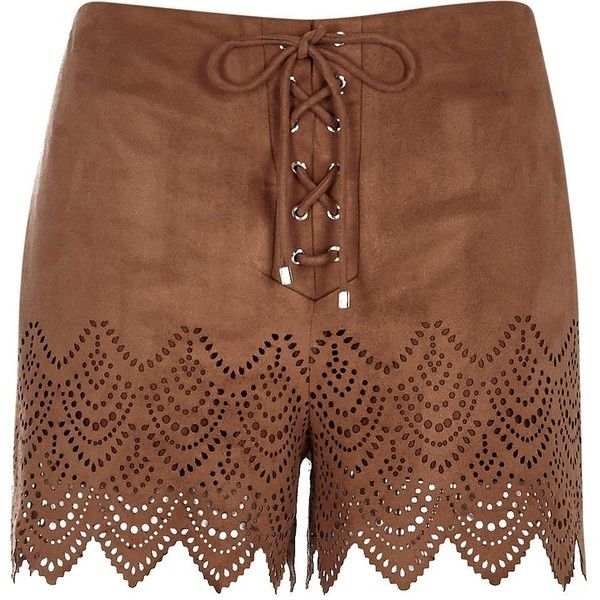River Island Brown faux-suede laser cut shorts ($64) ❤ liked on Polyvore featuring shorts, brown, smart shorts, women, lace-up shorts, laced shorts, river island, laser cut shorts and boho shorts