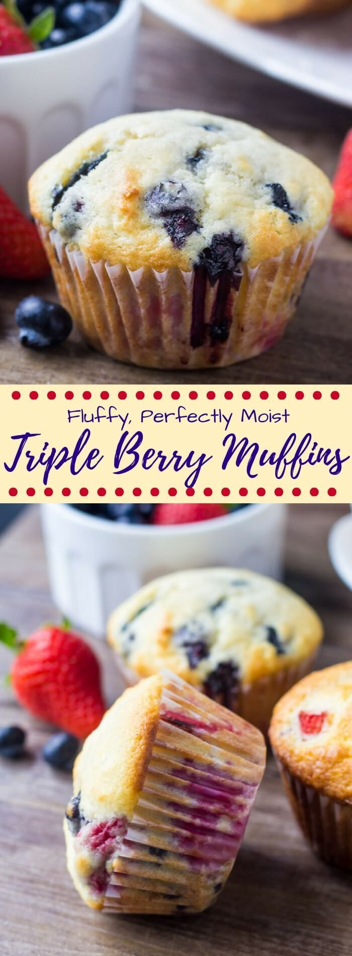 Triple berry muffins bursting with fresh fruit. Fluffy, buttery, super moist & oh so soft - these are the perfect summertime breakfast!