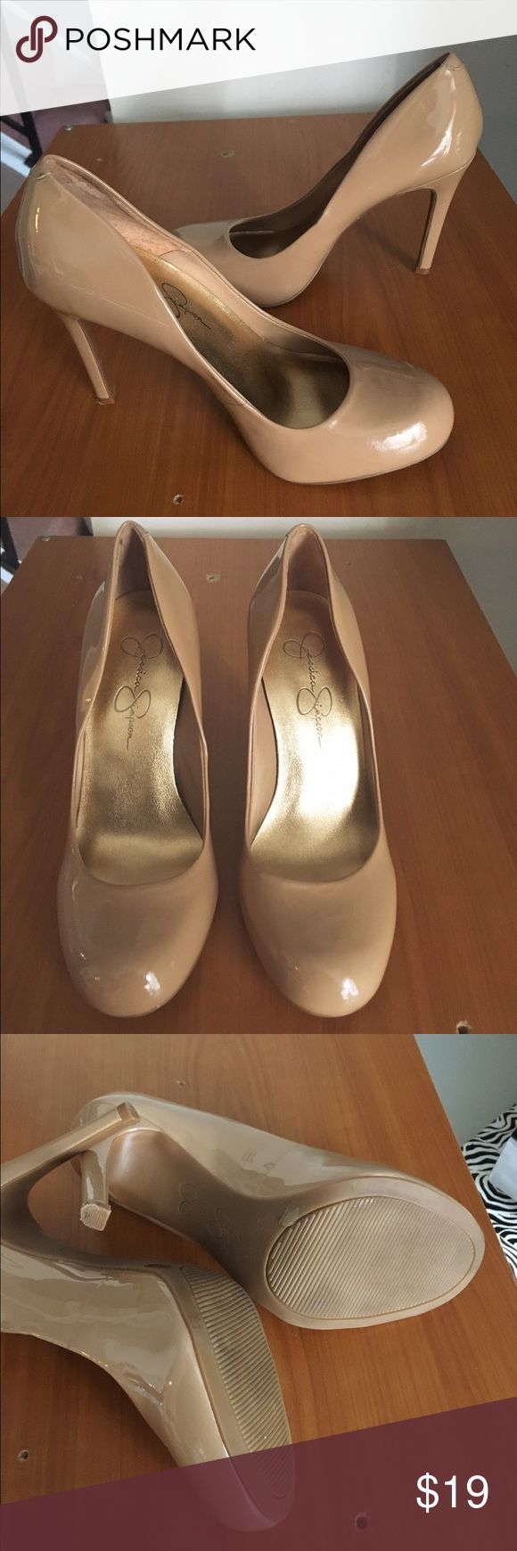 Jessica Simpson Nude Heels Color is like a nude cream tan. In very good condition with normal west on bottom also with the exception of a stain of some sort on one of the shoes. Please see pic #4. I have not tried to see if it will come out. Heel height is approx 4 inches. Price is reflective of that and is firm. Jessica Simpson Shoes Heels
